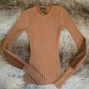 BCBG Elbow Patch Brown Sweater